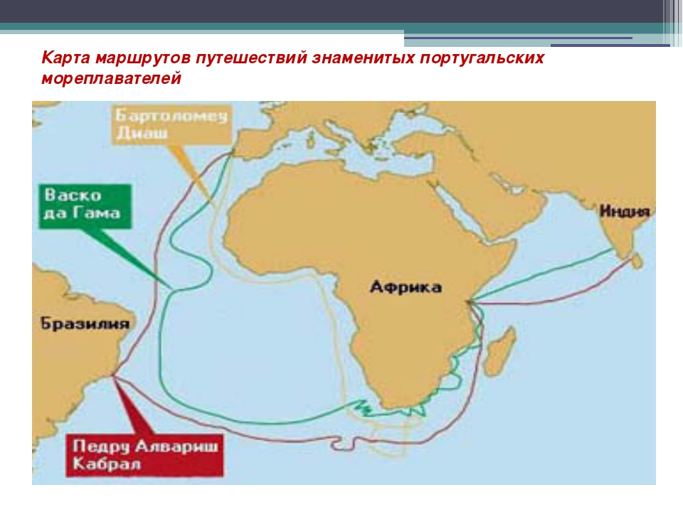 Карта маршрутов путешествий знаменитых португальских мореплавателей