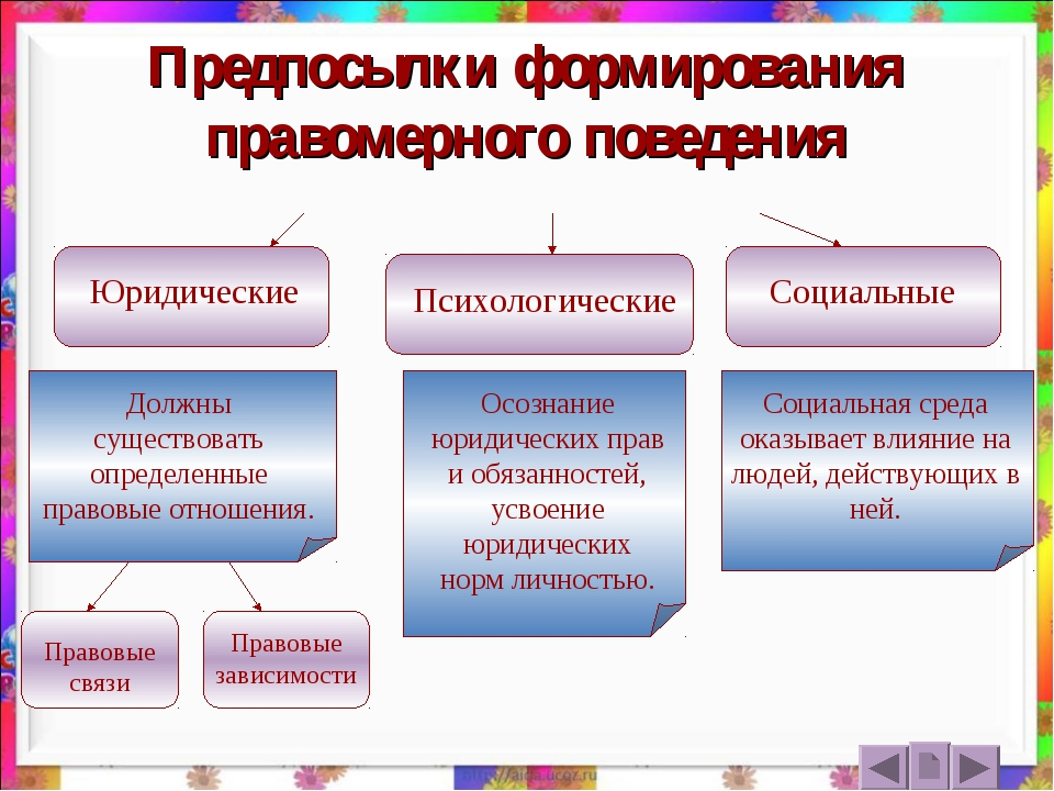 Предпосылки формирования правомерного поведения Юридические Психологические С...