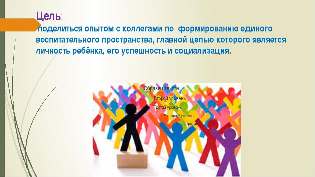 Цель: поделиться опытом с коллегами по формированию единого воспитательного п...