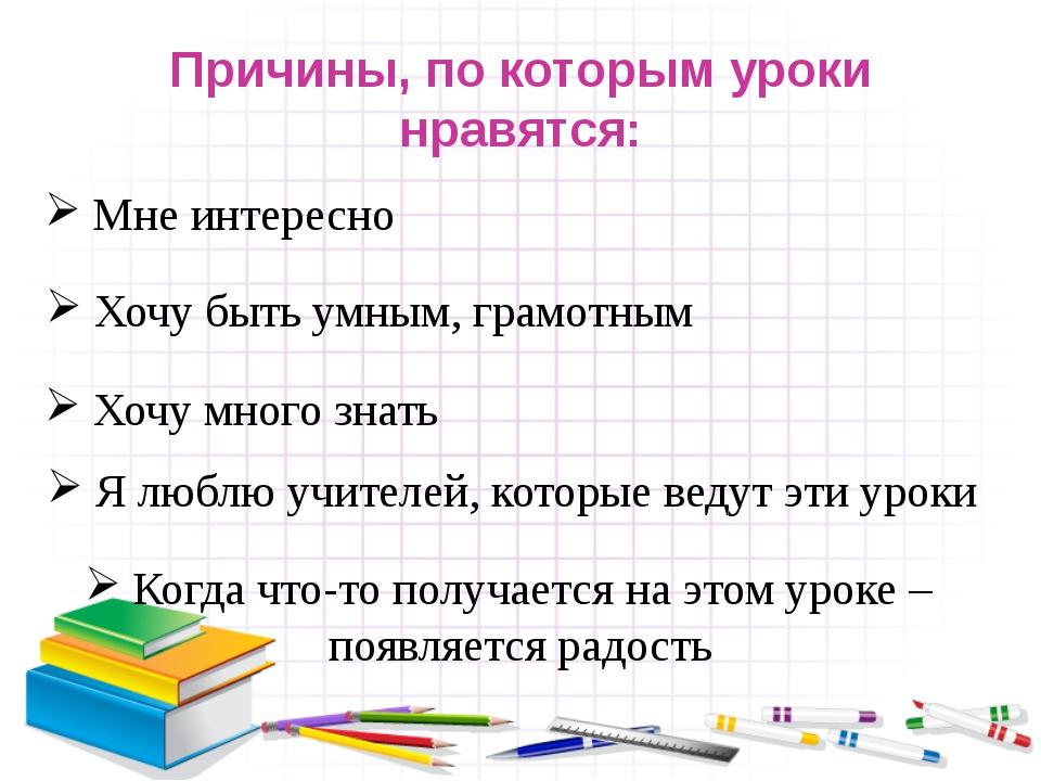Причины, по которым уроки нравятся: Мне интересно Хочу быть умным, грамотным...