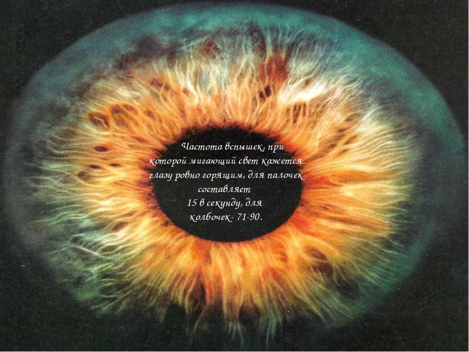 Частота вспышек, при которой мигающий свет кажется глазу ровно горящим, для...
