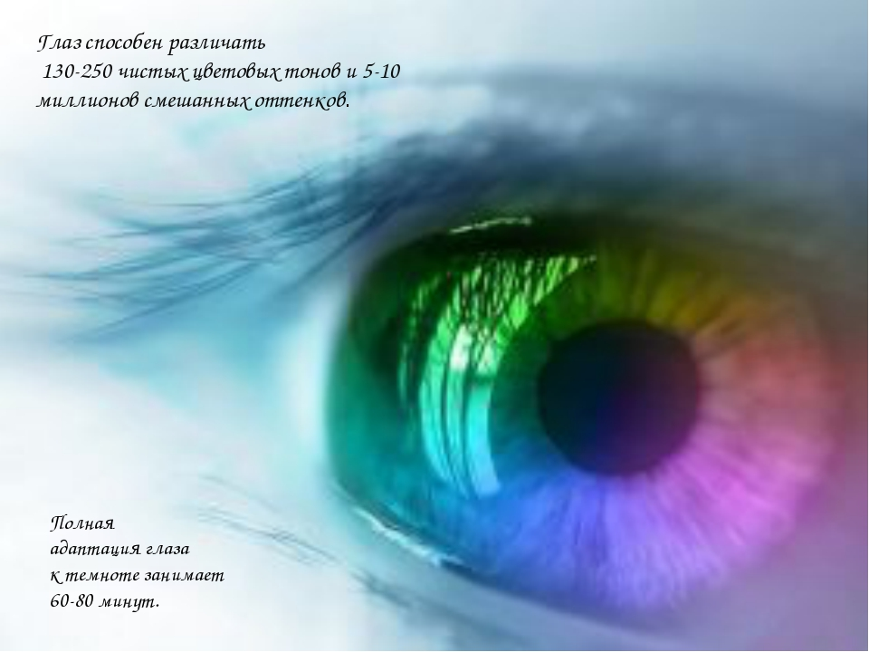 Глаз способен различать 130-250 чистых цветовых тонов и 5-10 миллионов смешан...