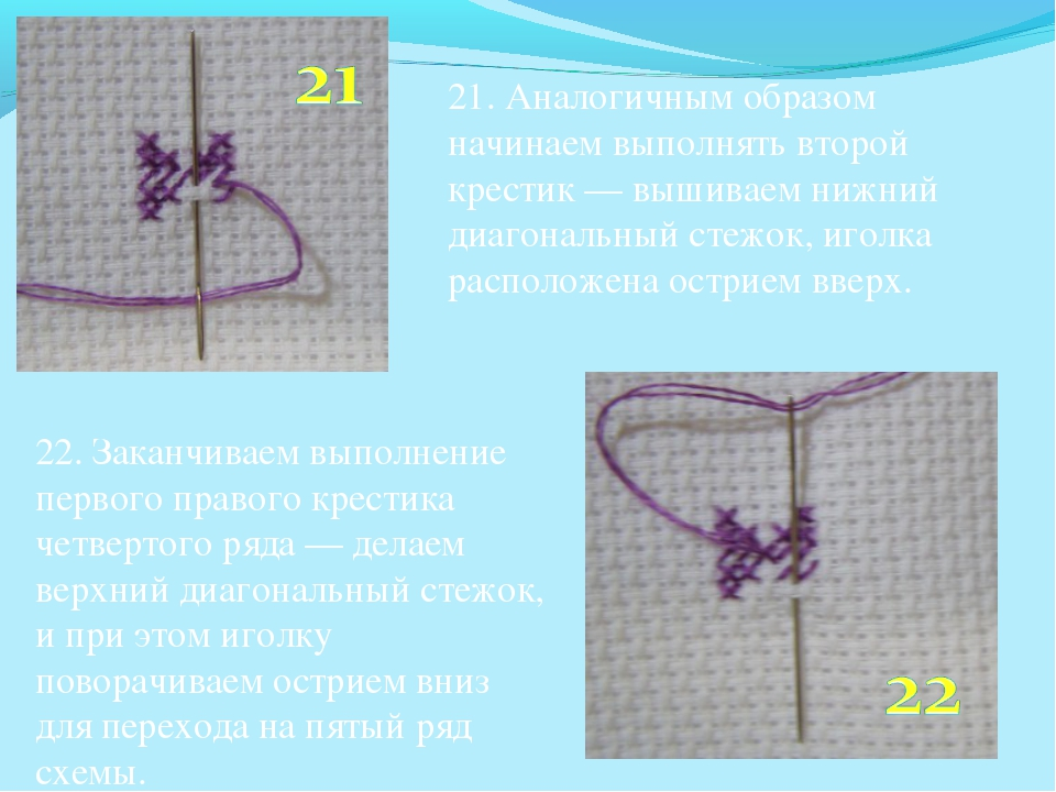 21. Аналогичным образом начинаем выполнять второй крестик — вышиваем нижний...