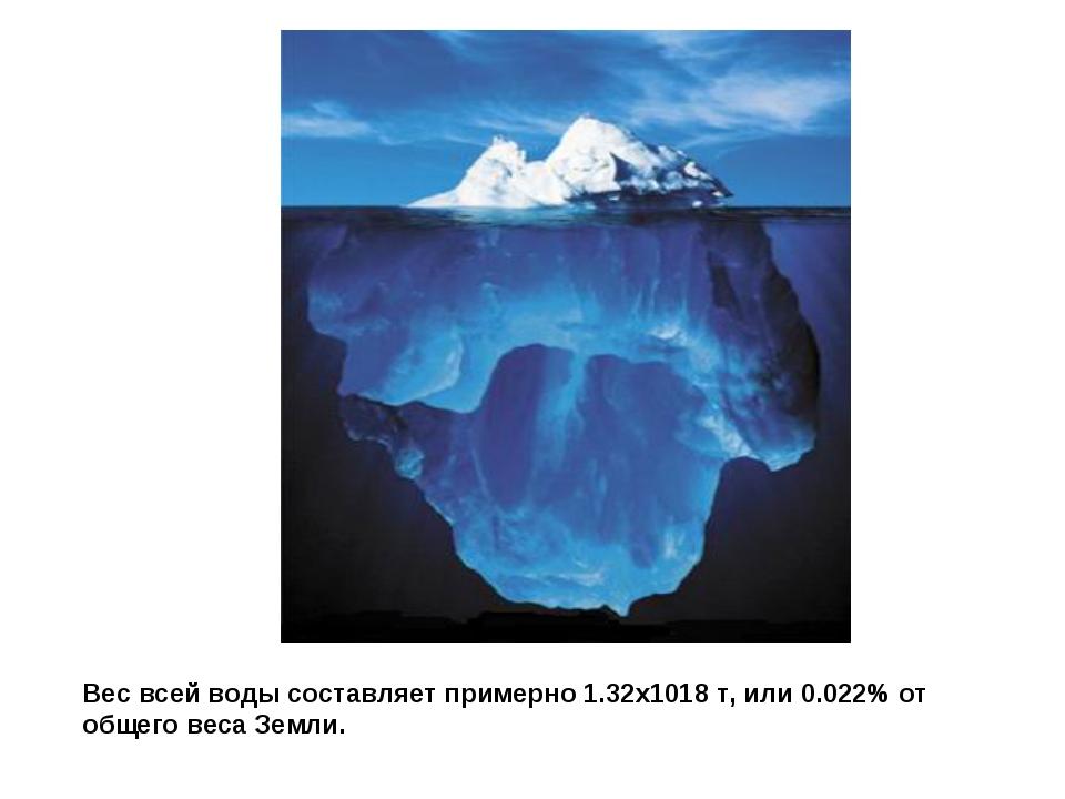 Вес всей воды составляет примерно 1.32х1018 т, или 0.022% от общего веса Земли.