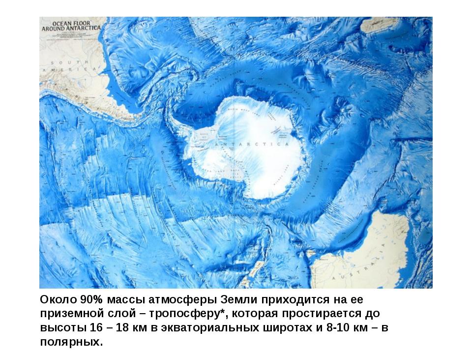 Около 90% массы атмосферы Земли приходится на ее приземной слой – тропосферу*...