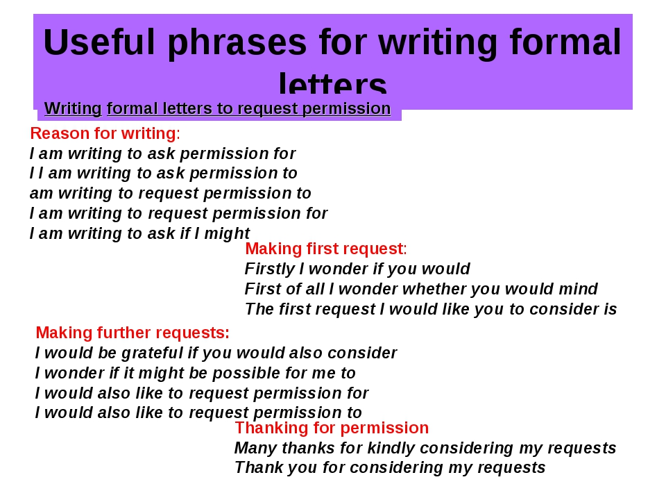 Useful phrases for writing formal letters Writing formal letters to request p...