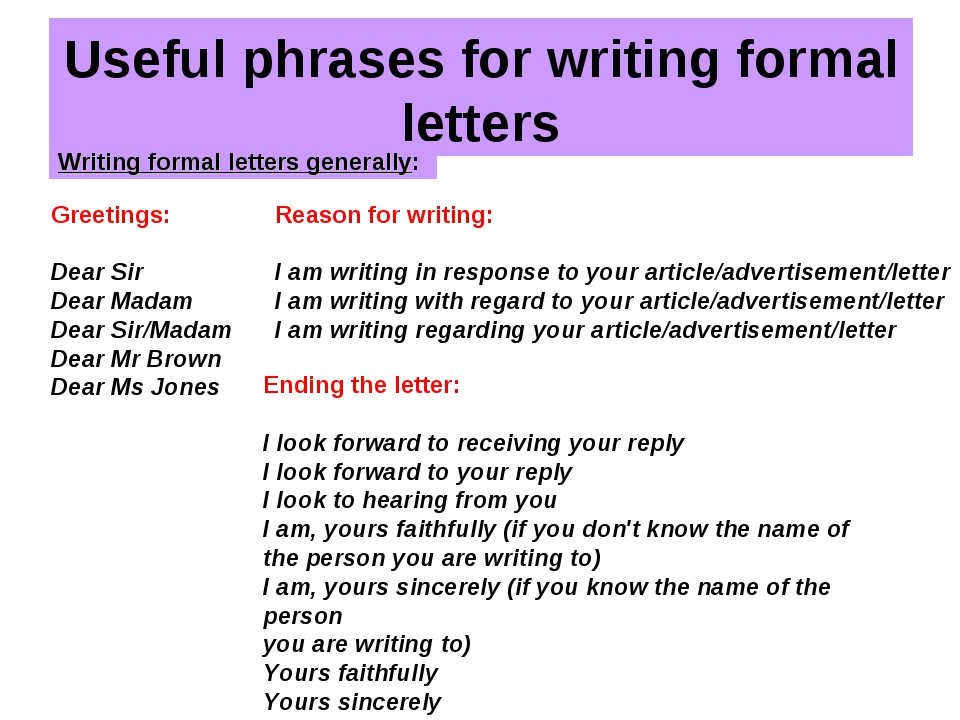Useful phrases for writing formal letters Writing formal letters generally: G...