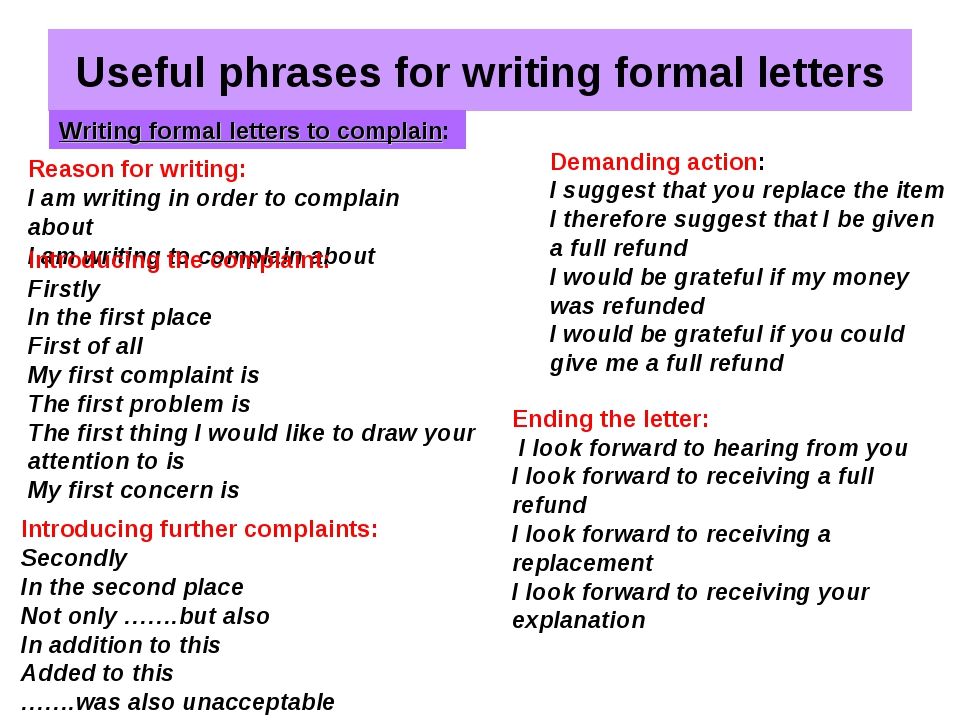 Useful phrases for writing formal letters Writing formal letters to complain: