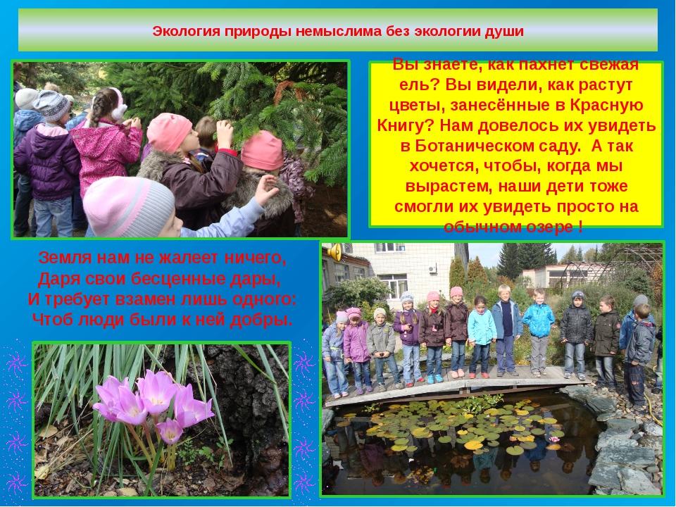 Экология природы немыслима без экологии души Земля нам не жалеет ничего, Даря...