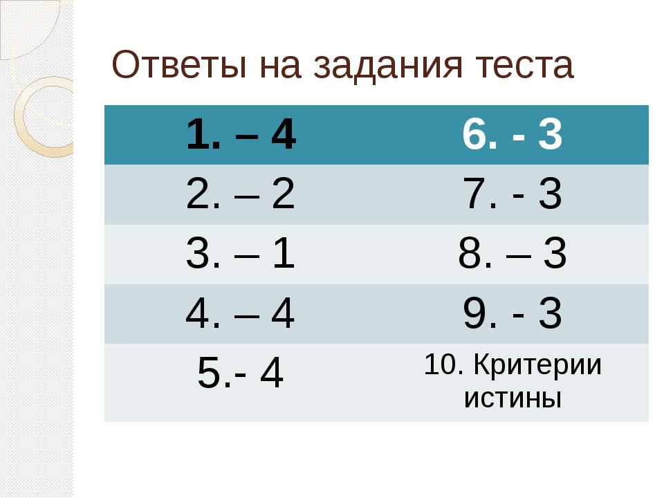 Ответы на задания теста 1. – 4 6. - 3 2. – 2 7. - 3 3. – 1 8. – 3 4. – 4 9. -...