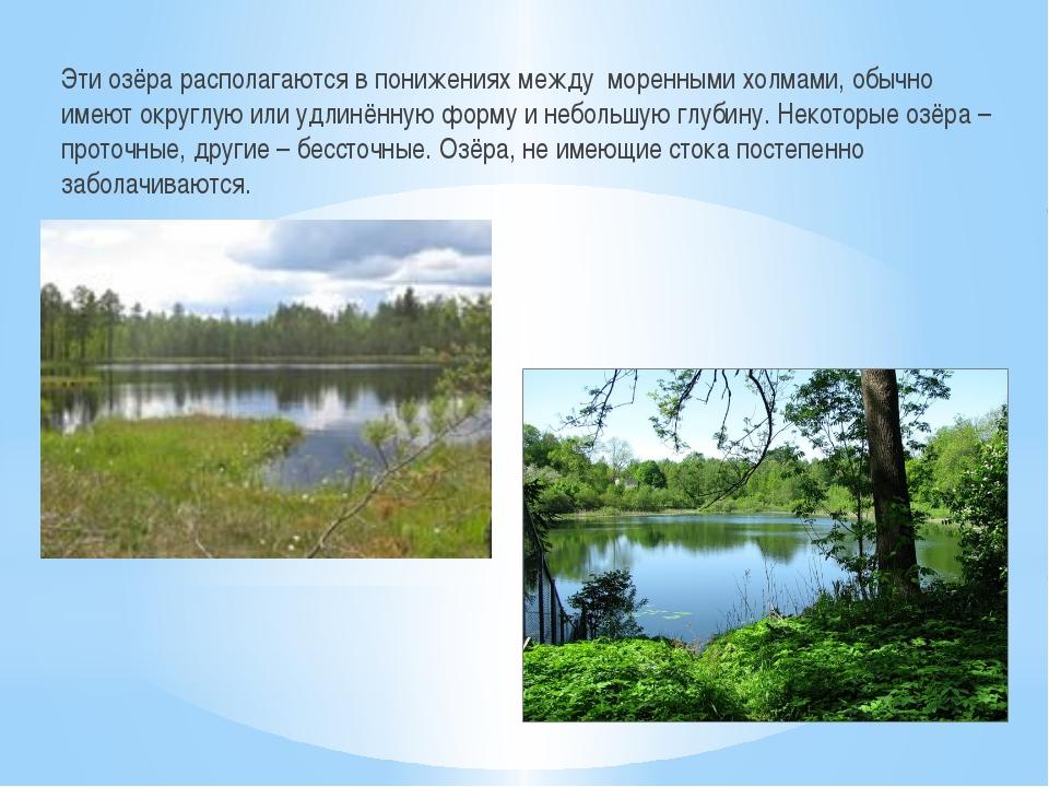 Эти озёра располагаются в понижениях между моренными холмами, обычно имеют ок...