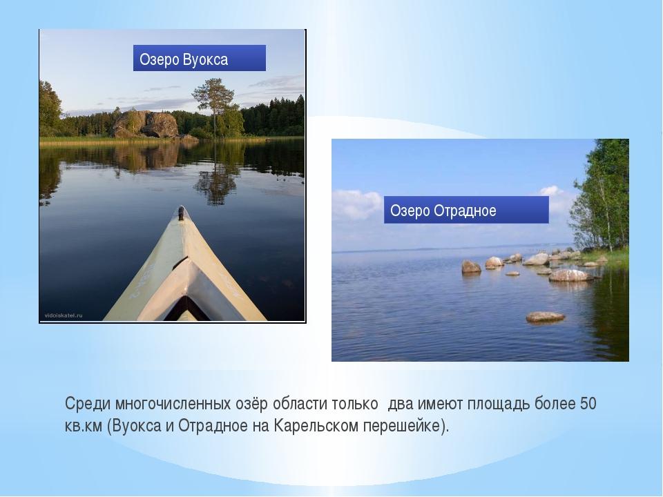 Среди многочисленных озёр области только два имеют площадь более 50 кв.км (Ву...