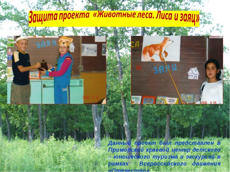 Данный проект был представлен в Приморский краевой центр детского – юношеског...
