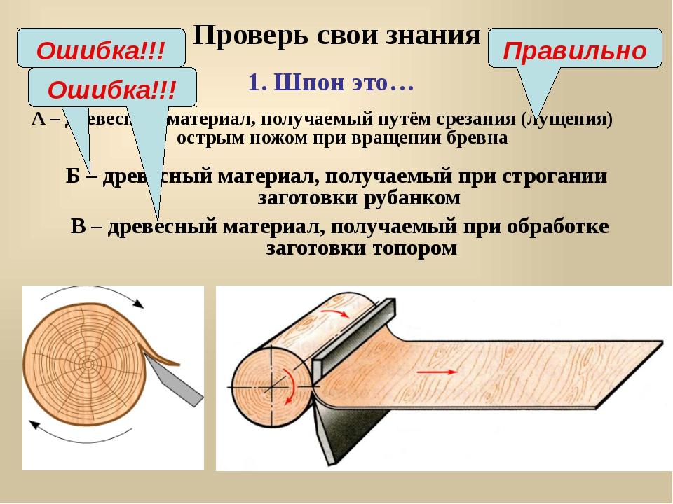 Проверь свои знания А – древесный материал, получаемый путём срезания (лущени...