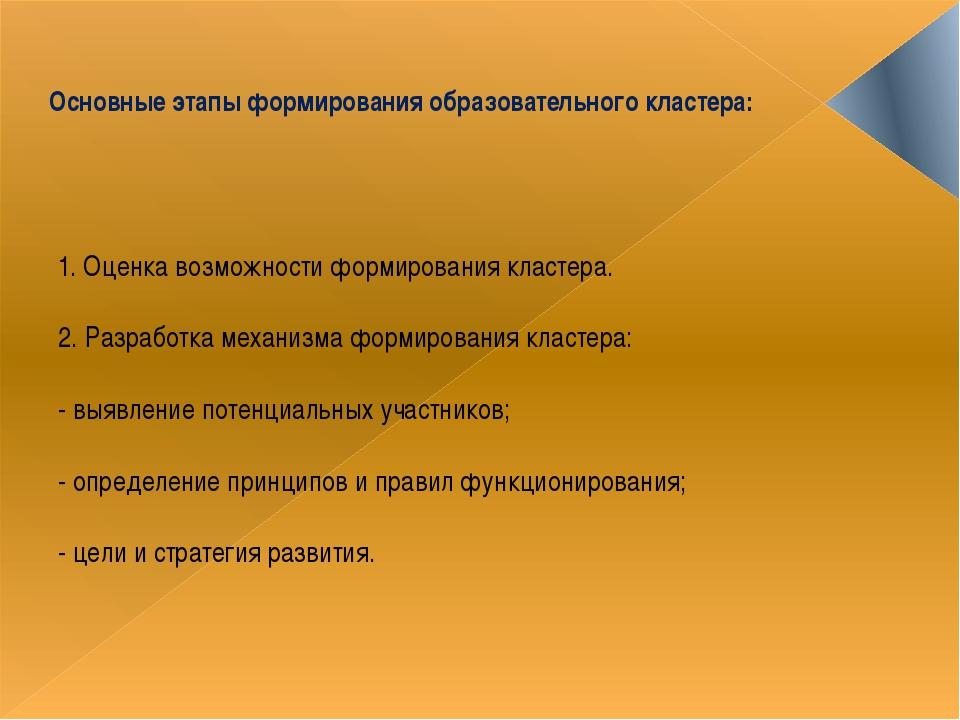 Основные этапы формирования образовательного кластера: 1. Оценка возможности...
