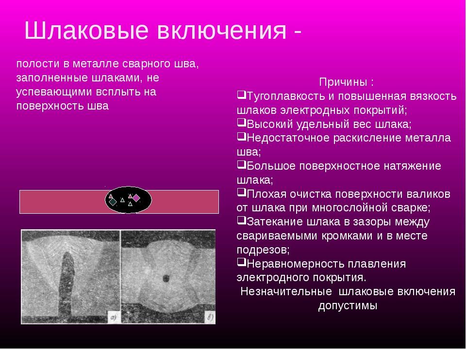 Шлаковые включения - Причины : Тугоплавкость и повышенная вязкость шлаков эле...