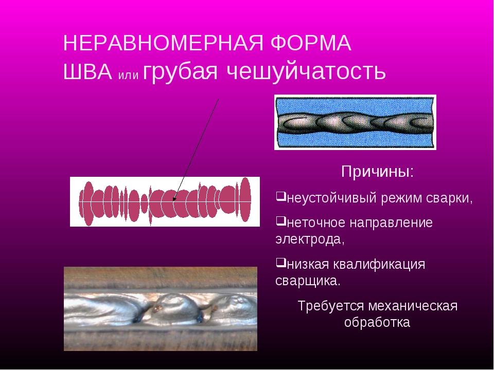 Причины: неустойчивый режим сварки, неточное направление электрода, низкая кв...
