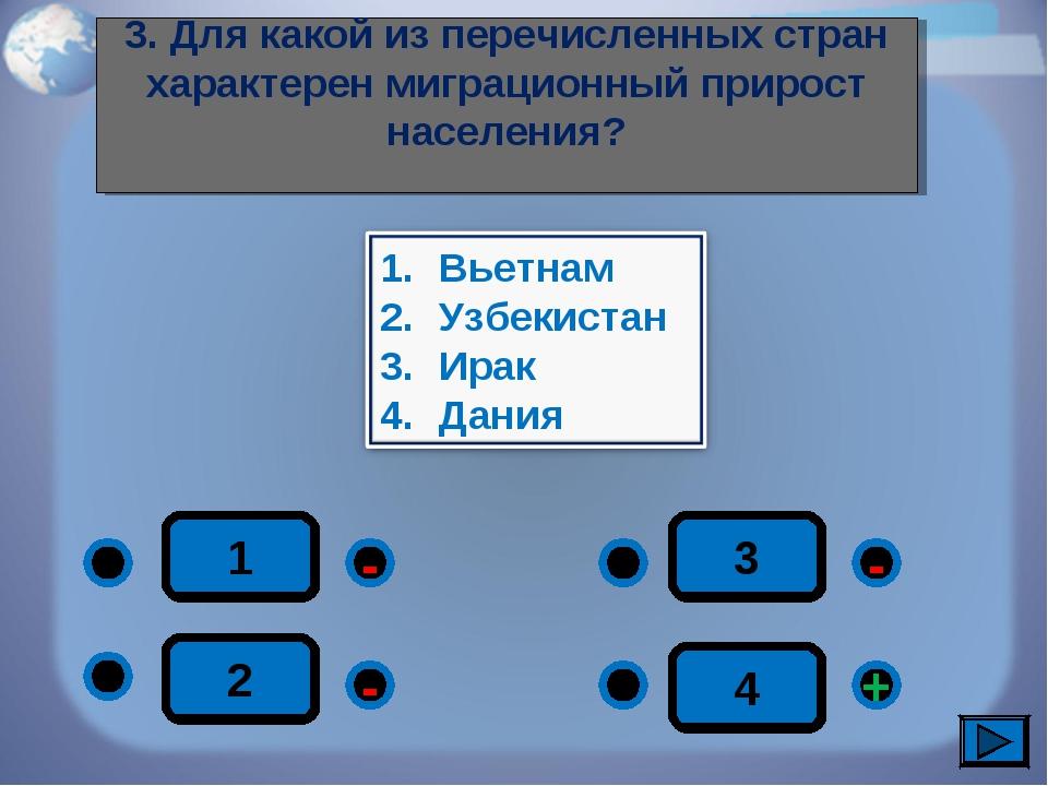 1 - + - - 2 3 4 3. Для какой из перечисленных стран характерен миграционный п...