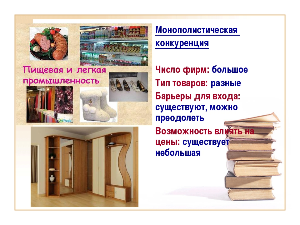 Монополистическая конкуренция Число фирм: большое Тип товаров: разные Барьеры...