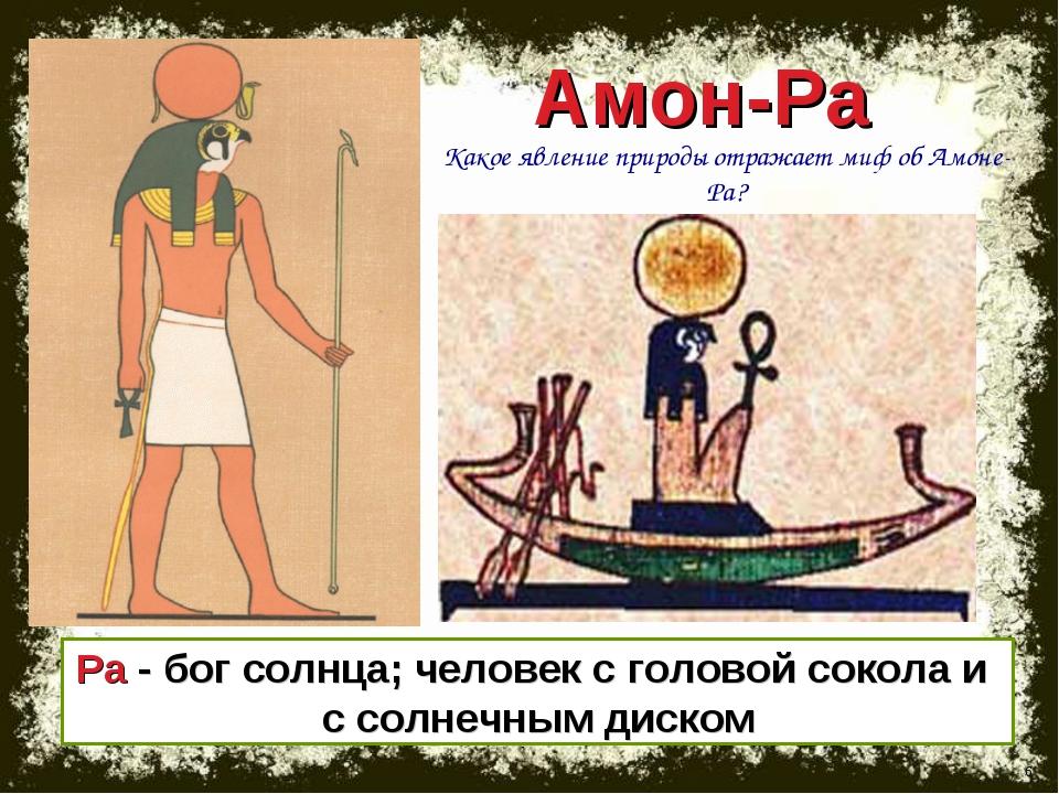 * Амон-Ра Ра - бог солнца; человек с головой сокола и с солнечным диском Како...