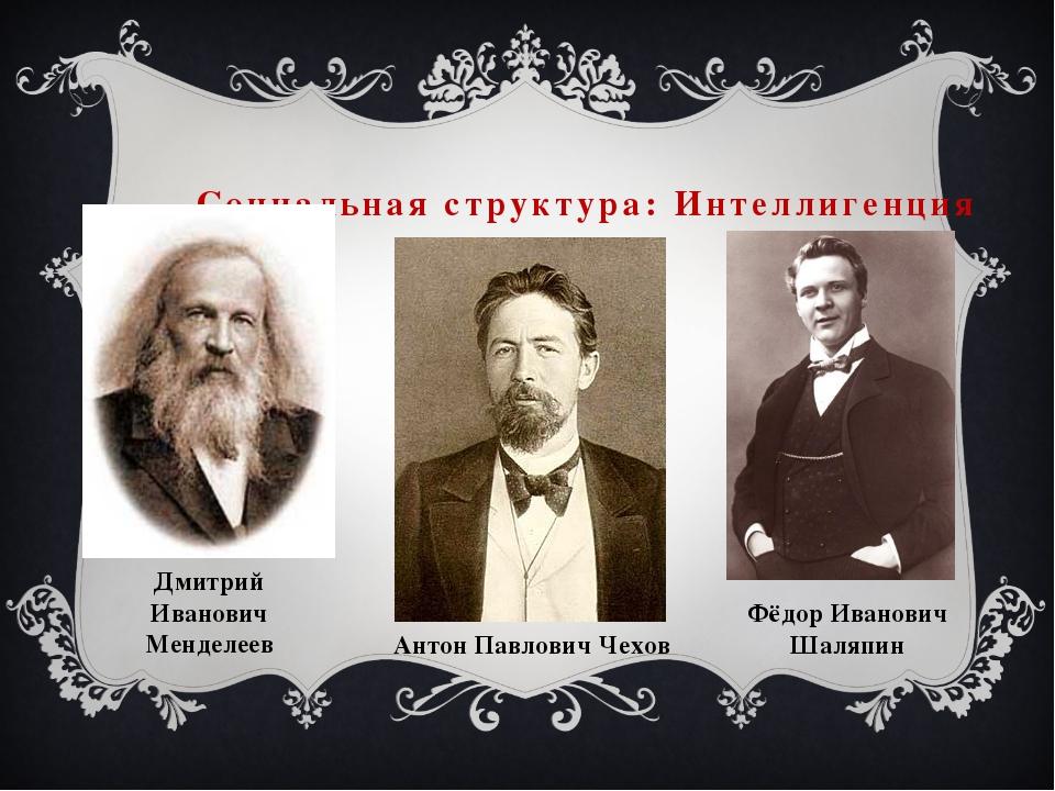 Социальная структура: Интеллигенция Дмитрий Иванович Менделеев Антон Павлович...