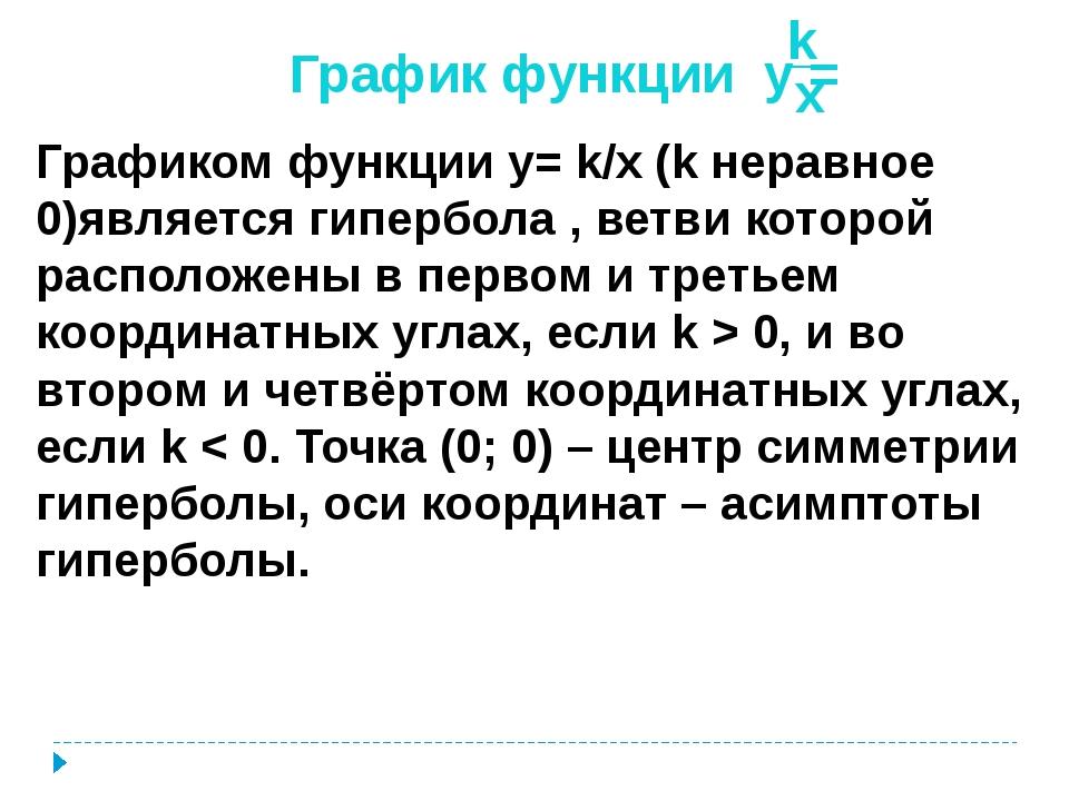 График функции y = k x Графиком функции y= k/x (k неравное 0)является гиперб...