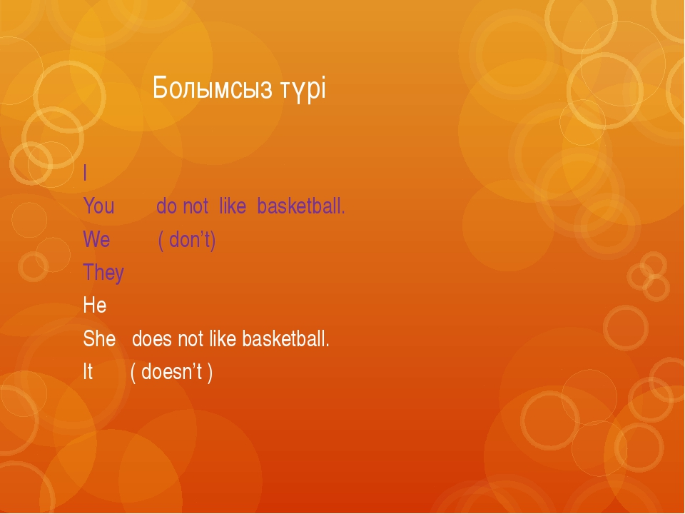 Болымсыз түрі I You do not like basketball. We ( don't) They He She does not...