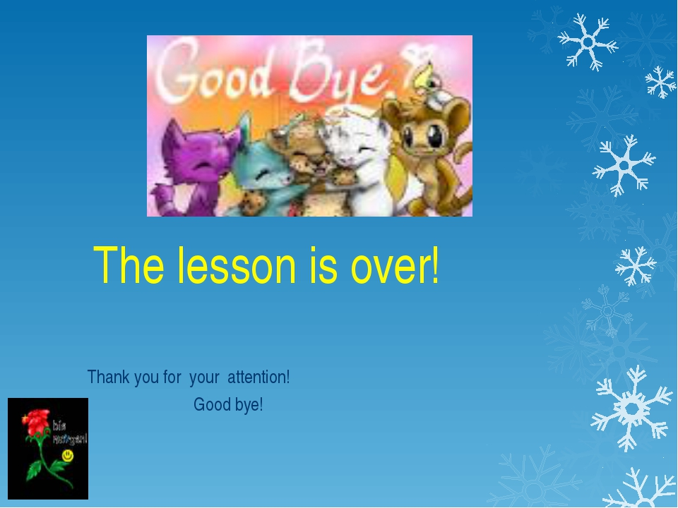The lesson is over! Thank you for your attention! Good bye!