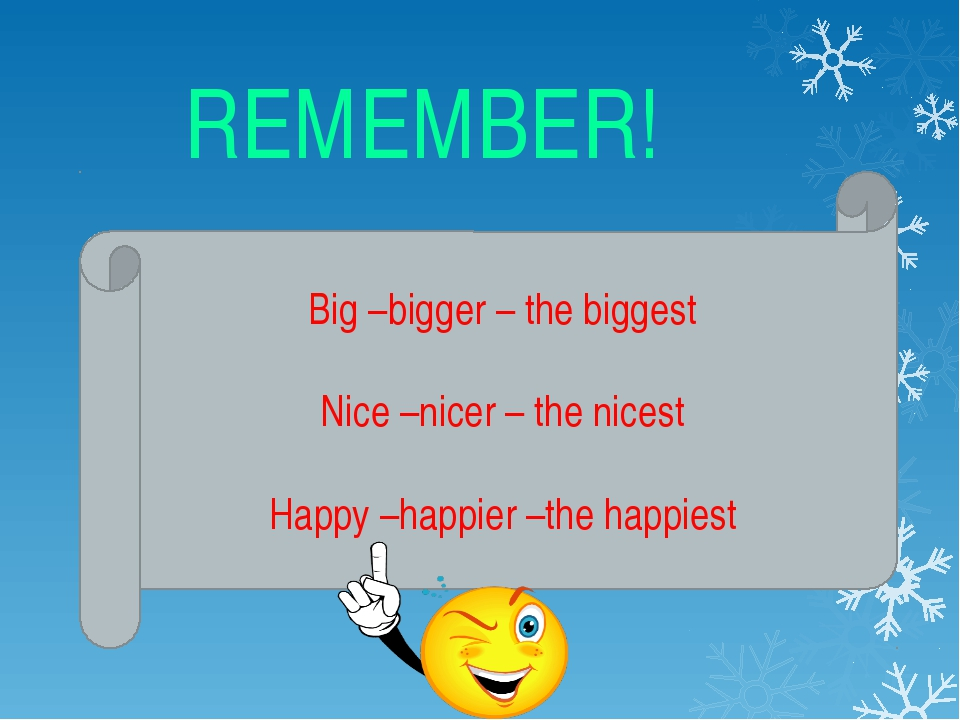 REMEMBER! Big –bigger – the biggest Nice –nicer – the nicest Happy –happier...