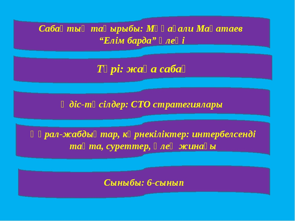 """Сабақтың тақырыбы: Мұқағали Мақатаев """"Елім барда"""" өлеңі Түрі: жаңа сабақ Әді..."""