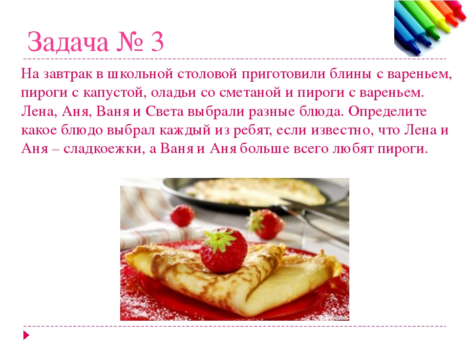 Задача № 3 На завтрак в школьной столовой приготовили блины с вареньем, пирог...