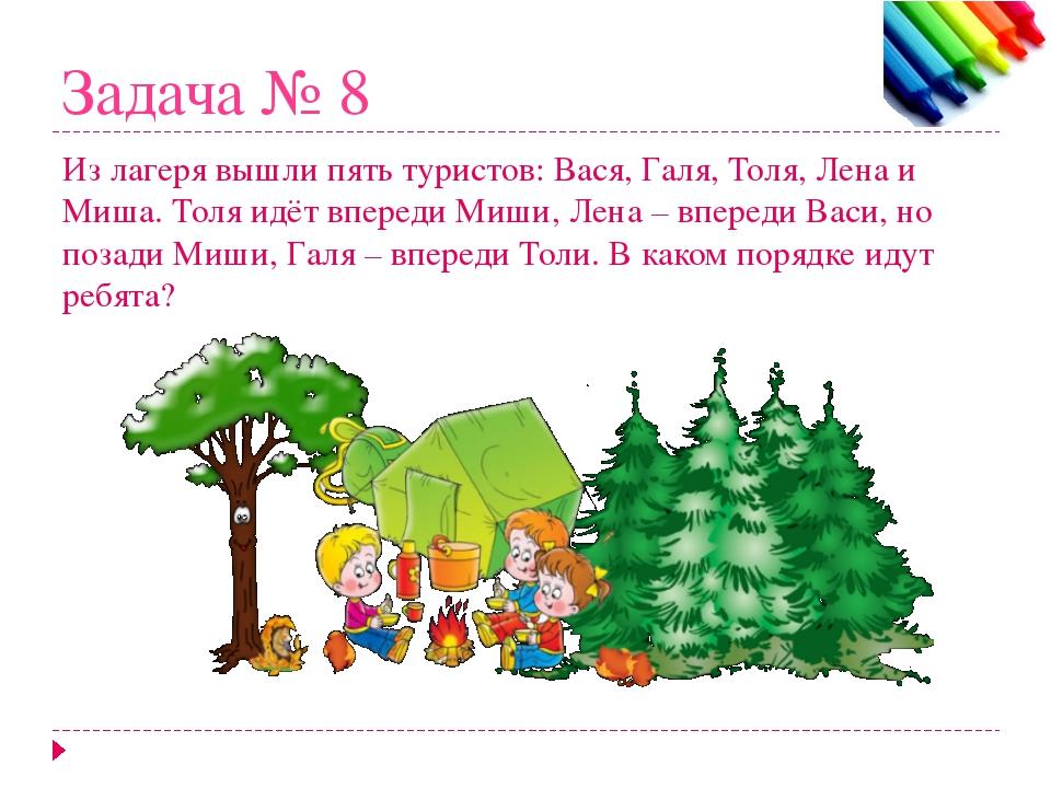 Задача № 8 Из лагеря вышли пять туристов: Вася, Галя, Толя, Лена и Миша. Толя...