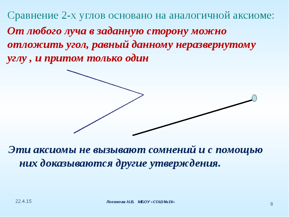 Сравнение 2-х углов основано на аналогичной аксиоме: От любого луча в заданну...