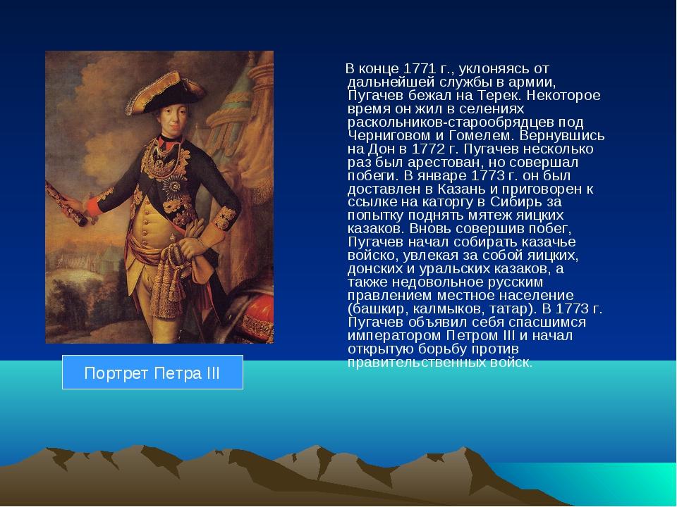 Портрет Петра III В конце 1771 г., уклоняясь от дальнейшей службы в армии, Пу...