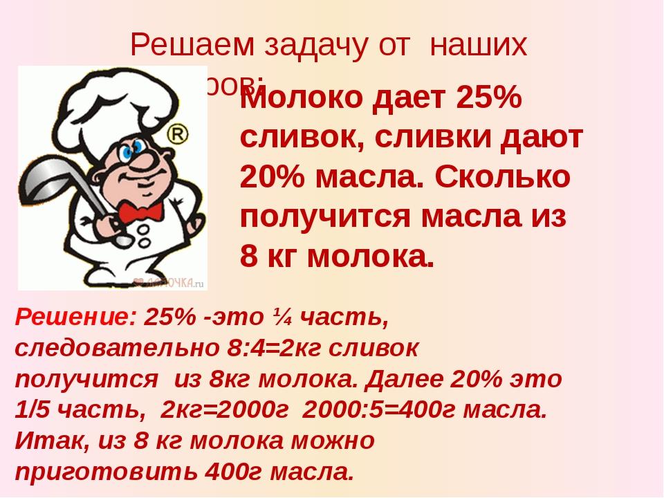Решаем задачу от наших поваров: Молоко дает 25% сливок, сливки дают 20% масла...