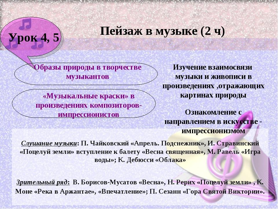 Урок 4, 5 Пейзаж в музыке (2 ч) Изучение взаимосвязи музыки и живописи в прои...