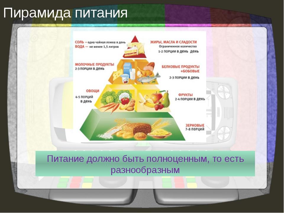 Пирамида питания Питание должно быть полноценным, то есть разнообразным