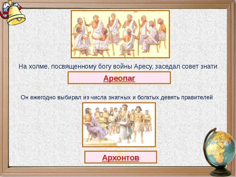 Ареопаг На холме, посвященному богу войны Аресу, заседал совет знати Он ежего...