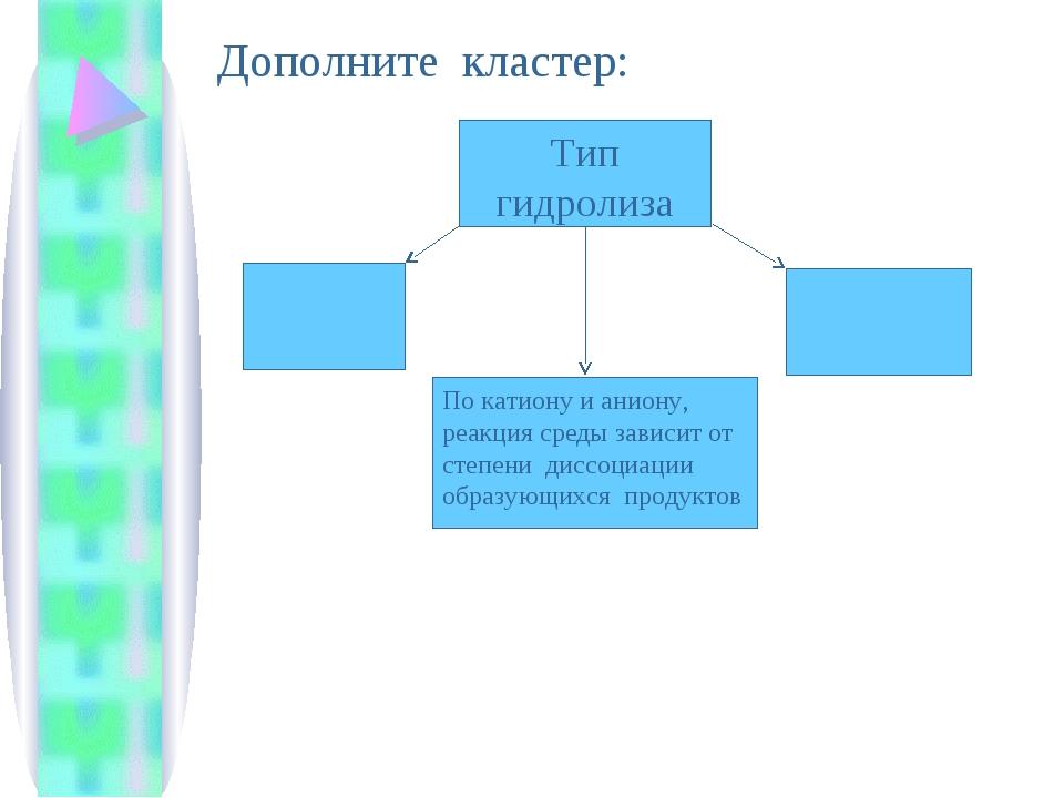 Тип гидролиза По катиону и аниону, реакция среды зависит от степени диссоциац...