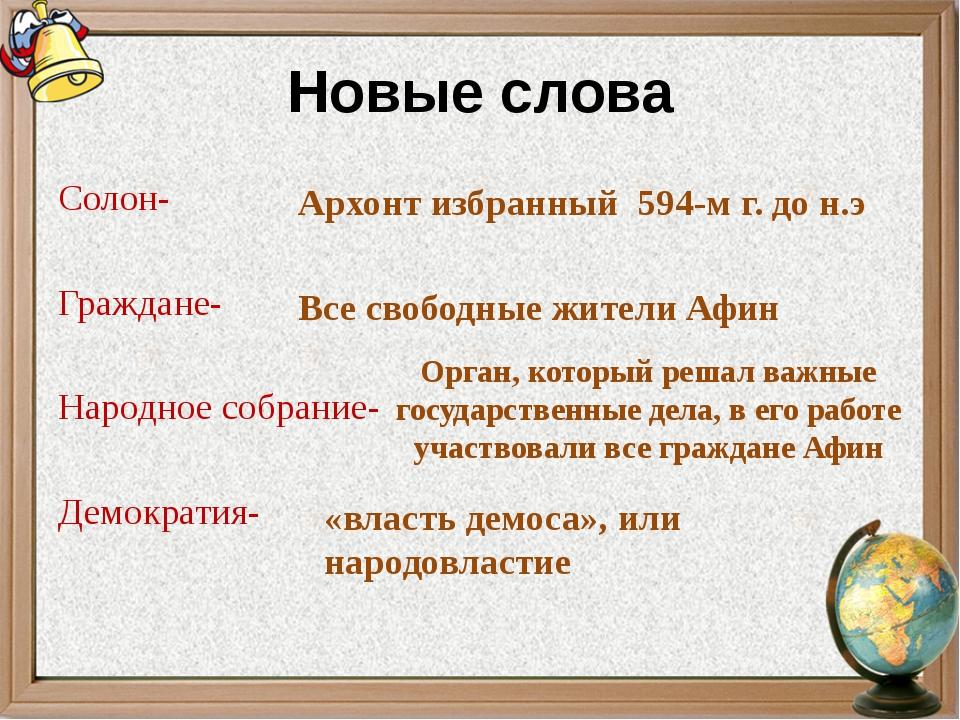 Новые слова Солон- Граждане- Народное собрание- Демократия- Архонт избранный...