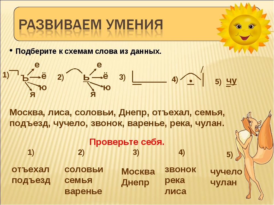 Подберите к схемам слова из данных. Москва, лиса, соловьи, Днепр, отъехал, с...