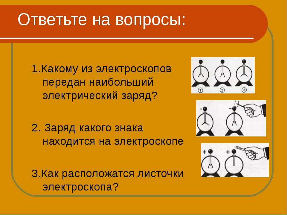 Ответьте на вопросы: 1.Какому из электроскопов передан наибольший электрическ...