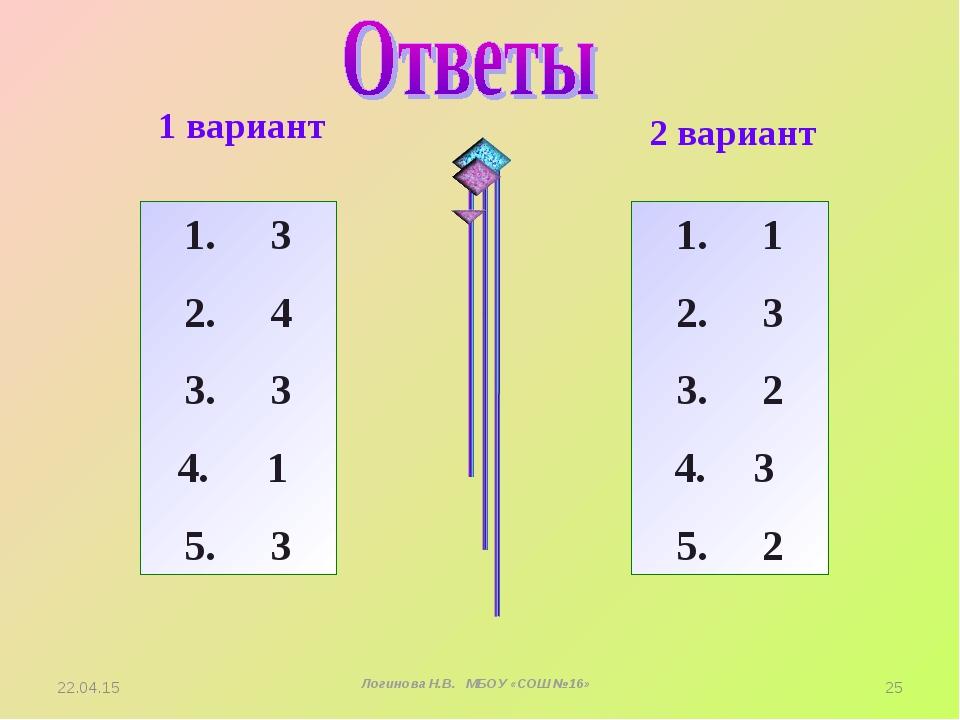 1 вариант 2 вариант 1. 3 2. 4 3. 3 1 5. 3 1. 1 2. 3 3. 2 3 5. 2 * Логинова Н....
