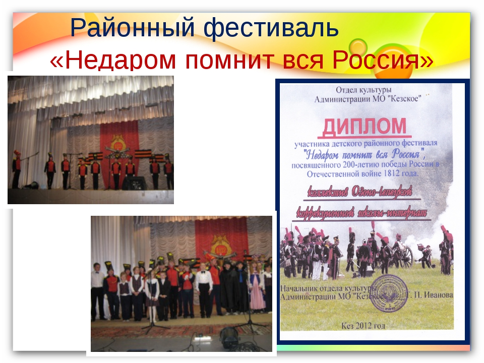 Районный фестиваль «Недаром помнит вся Россия»