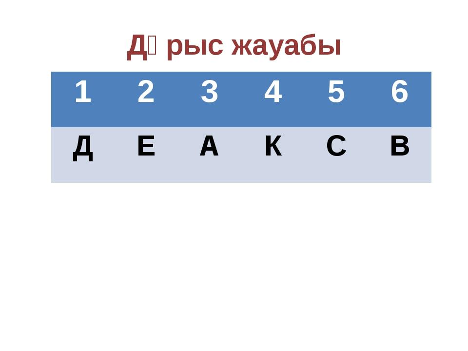 Дұрыс жауабы 1 2 3 4 5 6 Д Е А К С В