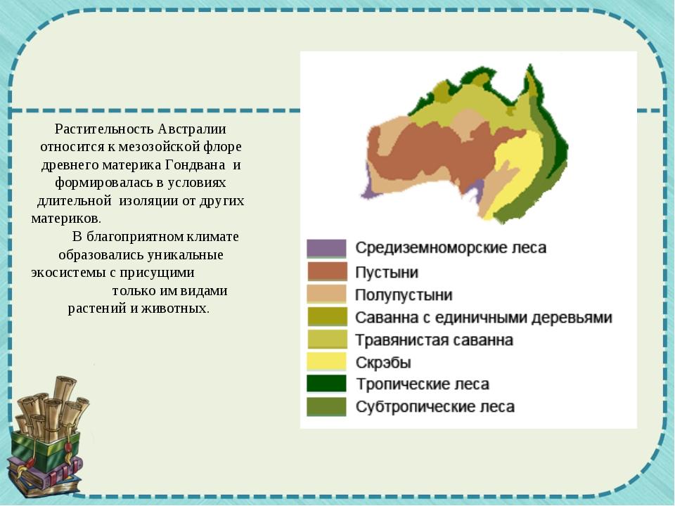 Растительность Австралии относится к мезозойской флоре древнего материка Гонд...