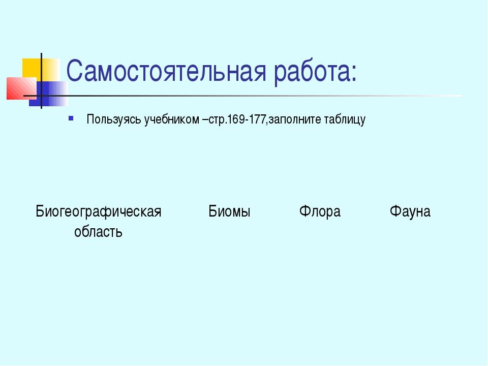 Самостоятельная работа: Пользуясь учебником –стр.169-177,заполните таблицу