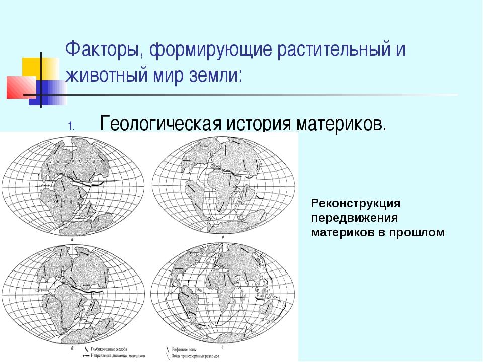 Факторы, формирующие растительный и животный мир земли: Геологическая история...