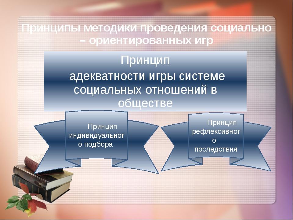 Принципы методики проведения социально – ориентированных игр Принцип адекватн...