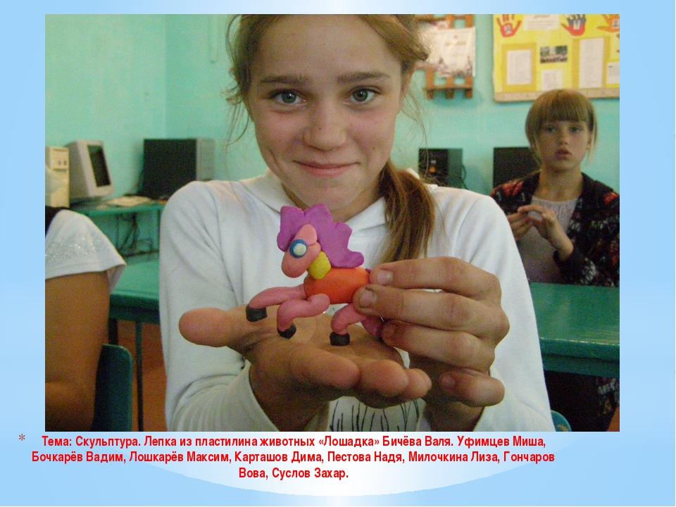 Тема: Скульптура. Лепка из пластилина животных «Лошадка» Бичёва Валя. Уфимцев...